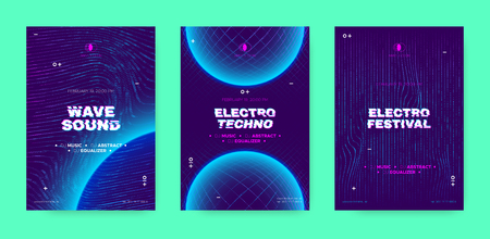 Electronic Sound Party Poster, Abstract Wave Distorted Lines. Music Flyer for Dj Event Promotion. Techno Festival, Night Party Concept with 3d, Neon Effect. Abstract Technology Cover or Party Banners. Ilustrace