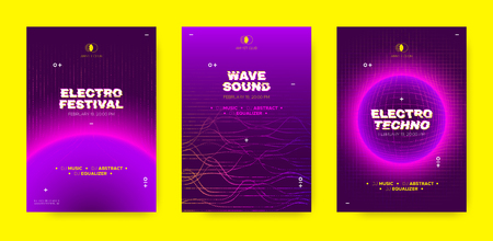 Wave Music Posters, Abstract Sound Flyers Set. Electronic Dj Event Invitation with Wave Dotted Lines and 3d Effect. Techno Music Festival, Night Club Party Poster. Vector Distorted Wave Music Covers. Ilustrace
