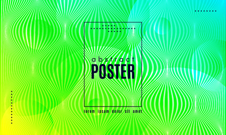 Wave Poster with Fluid Shapes. Gradient Abstract Background with Movement of Wave Liquid Forms. Linear Geometric Brochure in Yellow, Turquoise and Green Colors. Fresh Neon Concept with Abstract Waves. Ilustrace
