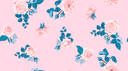 Pastel bloemmotief, vintage roze rozen in aquarel stijl. Bruiloft print, retro bloemen achtergrond, rustiek design. Naadloze bloemmotief in pastelkleuren. Vrouwelijke bloemen mode illustratie.