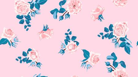 Patrón floral en colores pastel, rosas rosadas vintage en estilo acuarela. Impresión de boda, fondo de flores retro, diseño rústico. Patrón floral transparente en colores pastel. Ilustración de moda floral femenina.