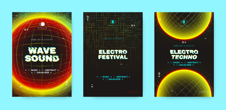 Neon Music Posters, Electronic Sound Concept. Wave Distorted Dotted Lines, Light Round. Techno Music Festival Posters, Night Club Promotion. Futuristic Technology Banners, Vector Dj Party Posters Set.