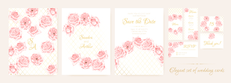 Wedding Cards, Pink Roses in Vintage Style. Flowers Marriage Background, Elegant Floral Border, Roses Bouquet. Vector Wedding Invitation Templates Watercolor Set. Decorative Luxury Roses Wreath.