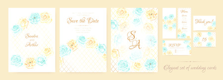 Vintage Wedding Invite, Delicate Roses in Pastel Colors Design. Romantic Floral Border, Greeting Invite Cards Vector Template. Botanical Decorative Elements, Spring Flowers Background, Wedding Frame.
