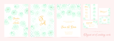 Floral Wedding Card, Fresh Invite Templates in Pastel Colors Design. Roses Flowers Border, Floral Decorative Frame. Vector Rustic Marriage Invitation, Romantic Banner. Floral Save the Date Collection.