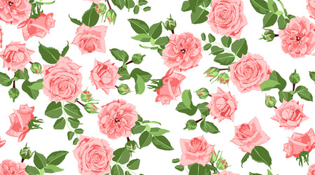 Seamless Flower Pattern. Vintage Watercolor Roses with Green Leaves. Floral Decorative Seamless Background for Wedding Invitation. Elegant Hand Drawn Flower Pattern for Textile Print, Retro Fabric. Ilustrace