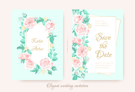 Vintage Wedding Invite, Roses in Pastel Colors. Flowers Bouquet Drawing in Watercolor Style. Wedding Card Design, Announcement of Engagement. Floral Decorative Border or Frame, Rustic Wedding. Ilustrace