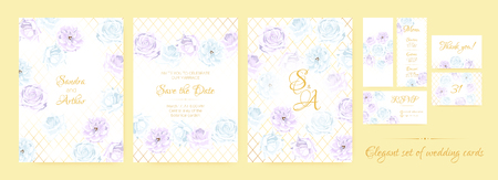 Vintage Wedding Invitation, Flowers Background, Roses Bouquet for Decoration. Greeting Card Template for Wedding Ceremony. Vector Floral Frame or Border. Delicate Wedding Invitation in Pastel Colors. Ilustrace