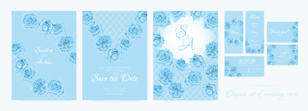 Thank You Cards Design, Blue Roses, Wedding Flowers Invitation Collection. Floral Decorative Border, Vector Spring Background in Pastel Colors. Delicate Vintage Bouquet, Thank You, RSVP, Menu, Invite.