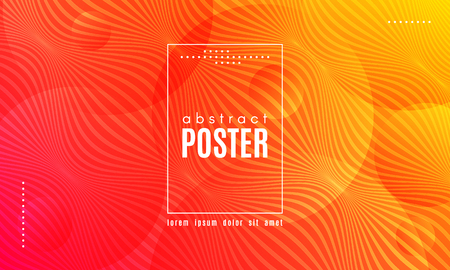 Abstract Geometric Background. Fluid Shapes Composition. Wave Liquid with Distorted Lines. Striped Geometric Poster in Red, Yellow and Orange Colors Design. Landing Page Concept with Vibrant Gradient. Illustration