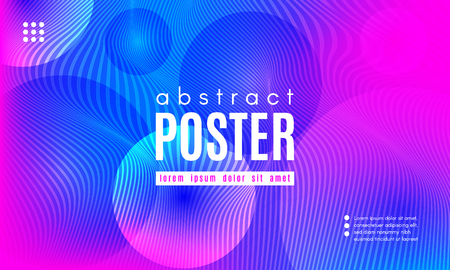 Gradient Fluid Shapes. Abstract Background in Blue and Pink Colors. Wave Liquid and Distorted Gradient Lines. Futuristic Concept of Landing Page. Geometric Abstract Poster with Dynamic Neon Gradient. Illustration