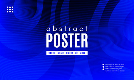 Abstract Blue Background. Landing Page Concept. Fluid Shapes Composition with Wave Stripes. Linear Gradient Poster for Web Design. Movement and Distortion Effect. Futuristic Blue Abstract Background. Illustration
