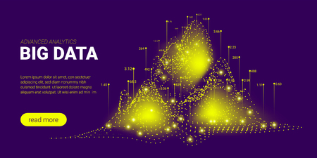 Big Data Stream Concept. Abstract Technology Background. Landing Page Template with Energy Stream and Glow Particles. 3d Presentation of Science Innovation. Data Stream Futuristic Visualization.