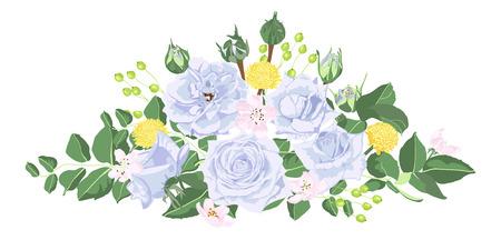 Vintage Bouquet of Roses, Floral Set in Watercolor Style. Greeting Card or Wedding Invite Design. Spring Flowers Vintage Illustration for Fashion Print, Elegant Wreath. Vector Vintage Card Template. Vektorové ilustrace