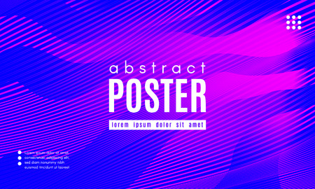 Gradient Fluid Shapes. Abstract Wave Poster with Movement of Liquid. Linear Gradient Background for Landing Page or Web Design. Fluid Forms Composition in Pink and Blue Colors. Vector Dynamic Stripes.  イラスト・ベクター素材