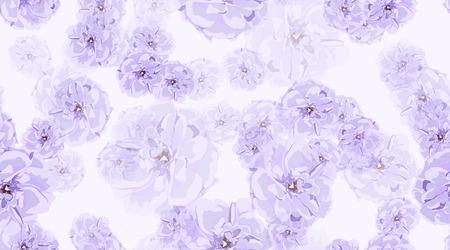 Vintage Floral Pattern, Pastel Spring Background. Watercolor Violet Roses. Rustic Vintage Floral Design. Wedding Print Template, Elegant Decoration. Seamless Illustration. Romantic Vintage Peony. Иллюстрация