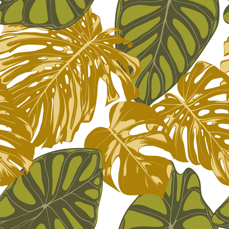 Seamless Hand Drawn Botanical Exotic Pattern with Philodendron and Alocasia Leaves. Vector Jungle Foliage in Watercolor Style. Seamless Tropic Leaf Background for Textile, Cloth, Fabric, Paper. Illusztráció