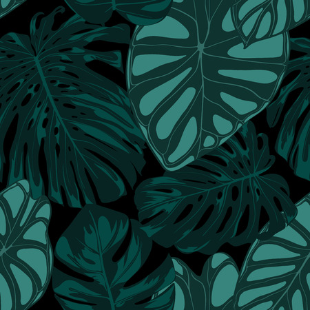 Vector Tropic Seamless Pattern. Philodendron and Alocasia Leaves. Hand Drawn Jungle Foliage in Watercolor Style. Exotic Background. Seamless Tropic Leaf for Textile, Cloth, Fabric, Decoration, Paper. 向量圖像