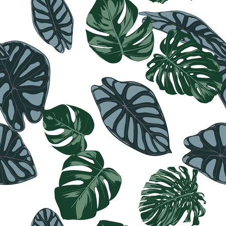 Vector Tropic Seamless Pattern. Philodendron and Alocasia Leaves. Hand Drawn Jungle Foliage in Watercolor Style. Exotic Background. Seamless Tropic Leaf for Textile, Cloth, Fabric, Decoration, Paper. Illusztráció