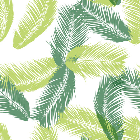 Vektor Federn. Tropisches nahtloses Muster mit exotischen Dschungelpflanzen. Kokosnussbaumblatt. Einfacher Sommerhintergrund. Abbildung EPS 10. Vektor Federn Silhouetten oder hawaiianische Blätter der Palme.
