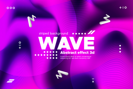 3d Distorted Wave Lines. Striped Poster in Pink and Purple Colors with Ripple of Flowing Surface. Modern Linear Template with Movement. Abstract Background with Distortion of Metallic Stripes. Ilustrace