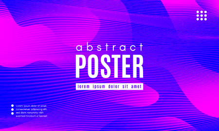 Gradient Fluid Shapes. Abstract Wave Poster with Movement of Liquid. Linear Gradient Background for Landing Page or Web Design. Fluid Forms Composition in Pink and Blue Colors. Vector Dynamic Stripes. Foto de archivo - 123112034