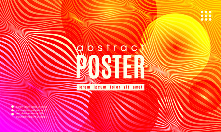 Fluid Shapes Abstract Composition. Gradient Background with Wave Lines. Trendy Web Page Template with Fluid Forms Concept. Poster with Distorted Stripes and 3d Effect. Vector Geometric Template. Foto de archivo - 123112072