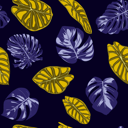 Tropical Jungle Leaves. Vector Seamless Pattern. Philodendron or Monstera Plant Repeating Background for Textile, Wallpaper, Summer Decoration. Floral Seamless Pattern with Alocasia and Monstera Leaf. Stock Illustratie
