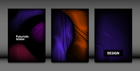 Abstract Wave Shapes. Cover Design Templates Set with Vibrant Gradient and Volume Effect in Futuristic Style. Vector Abstraction with Distorted Lines. Abstract Wavy Shapes for Cover, Magazine, Poster.