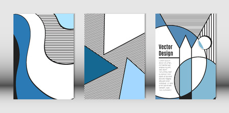 Templates Set with Bauhaus and Geometric Elements in Blue, White and Black Colors. Placards Set with Wavy Stripes, Triangles and Abstract Vector Shapes. Covers for Brochures, Poster, Magazine, Layout.