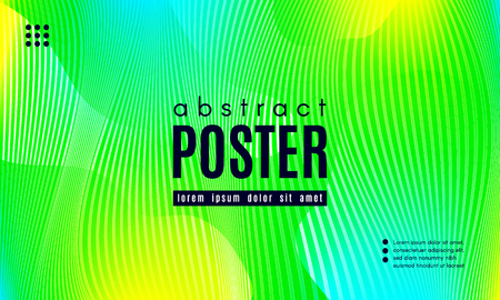 Wave Poster with Fluid Shapes. Gradient Abstract Background with Movement of Wave Liquid Forms. Linear Geometric Brochure in Yellow, Turquoise and Green Colors. Fresh Neon Concept with Abstract Waves.  イラスト・ベクター素材