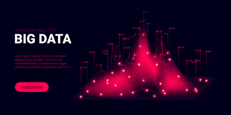 Landing Page, Big Data Analysis Visualization. Quantum Computing, Artificial Intelligence Concept. Futuristic Landing Page with Science Innovation Presentation. Signal Cryptography Page Template.