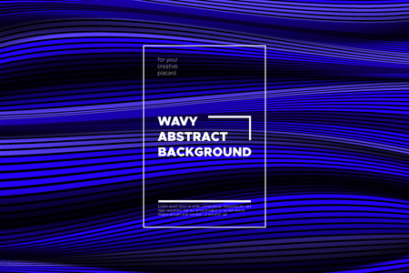 Flow Background with Liquid Shapes. Distortion of Space. Trendy Abstract Cover with Vector Wave Lines. Movement Effect. Wavy Colorful 3d Surface. Flow Background with Optical Illusion for Design. Vettoriali