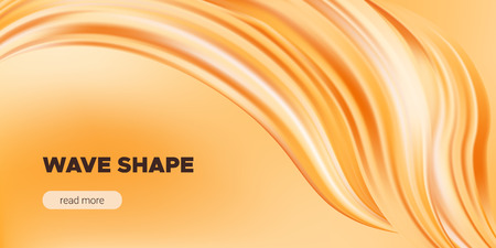 Abstract Fluid, Orange Liquid Shape Background. Brush or Ink Strokes Paint, Pastel Artwork. Movement of Wave Fluid with 3d Effect. Color Flow Poster or Wallpaper Template. Vector Gold Fluid Banner. Ilustração