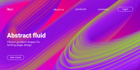 Pink, Purple and Green Abstract Background. 3d Fluid Design, Landing Page Wave Concept. Colorful Liquid Shape in Movement. Abstract Brochure for Web. Flow Banner. Vector Gradient Abstract Background.