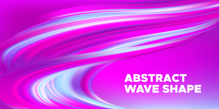 Pink Flow Brochure, Abstract Wave Background. Colorful Liquid Shape in Movement. Flow of Vibrant Wave. Gradient Flyer, Landing Page Template, Business Futuristic Cover. Vector Flow Concept, 3d Splash.