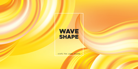 Yellow Abstract Fluid Background, Flow Poster. Wave Shape in Movement with 3d Effect. Brush Strokes Gold Paint. Abstract Waves with Gradient, Color Liquid Concept. Vector Background with Abstract Art. Ilustração