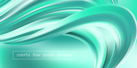 Wave Fluid, 3d Liquid Shape in Movement. Turquoise Fluid Poster or Banner. Brush Stroke with Gradient, Abstract Wave Background. Dynamic Flow Poster for Presentation. Wave Pattern Design, Wallpaper.