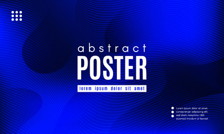 Abstract Blue Background. Landing Page Concept. Fluid Shapes Composition with Wave Stripes. Linear Gradient Poster for Web Design. Movement and Distortion Effect. Futuristic Blue Abstract Background.  イラスト・ベクター素材