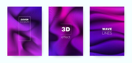 Neon Flow Poster. Headline Cover. Blue Business Background. Violet 3d Movement Halftone Gradient. Wave Poster. Minimal Cover. Business Illustration. Flow Poster. Blue Background.