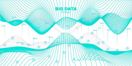 Data Stream. Teal Futuristic Illustration. Science Banner. Fluid Graph Big Data. White Industrial Tech. Futuristic Visualization. Teal Science Poster. Vector Big Data. Virtual System.