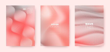 3d Lines Flyer. Wavy Fluid Concept. Vector Geometric Stripes. Coral Gradient Background. 3d Lines Poster. Wavy Flow Cover. Pink Gradient Poster. Dynamic Gradient Brochure. Distorted Texture. Illustration