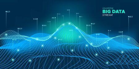 Big Data 3D. Informations sur la technologie des fluides. Réseau numérique. Analyse Big Data. Technologie industrielle légère. Illustration futuriste. Réseau numérique fluide. Big Data abstrait. Système virtuel.