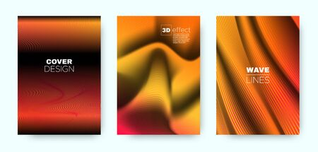 Orange Fluid Cover. Orange Vector Poster. Dynamic Vibrant Lines. Red 3d Background. Fluid Lines Pattern. Neon Movement Cover. Vector Concept. 3d Fluid Brochure.
