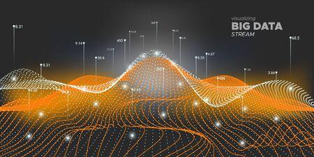 Wektor dużych danych. Wizualizacja matrycy. Sieć Big Data. Neonowy wykres futurystyczny. Wizualizacja czarnej technologii. Streszczenie fali 3D. Wizualizacja systemu. Analiza dużych zbiorów danych.
