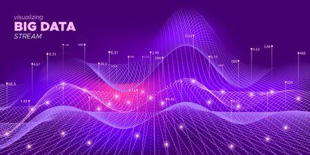 Vector de análisis de neón. Visualización de matrices. Antecedentes de Big Data. Abstracción 3d de neón. Resumen de tecnología. Codificación de flujo binario. Visualización de matrices. Ilustración de Big Data.