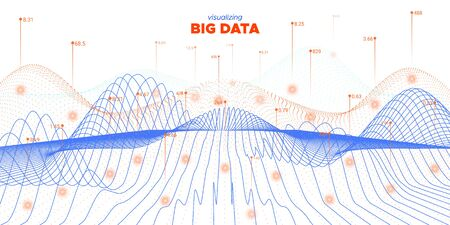 Data Flow. Fluid Technology Visualization. Cyber Concept. Graph Big Data. Fluid Virtual Effect. Infographic Information. Orange Science Design. Abstract Big Data. Virtual Effect.