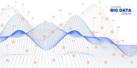 Big Data 3d. Orange Infographic Illustration. Digital Concept. System Big Data. Blue Tech Movement. Technology Visualization. Orange Coding Fractal. Graph Big Data. Virtual Effect. Çizim