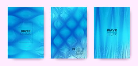 Bannière de lignes 3D. Couverture de flux de vague. Néon abstrait. Motif Rayé Dégradé. Affiche de lignes 3d dégradées. Concept de flux de vague. Brochure dynamique au néon. Texture géométrique des lignes 3d bleues.