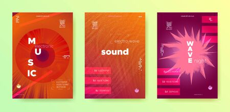 Sound Wave Flyer. Electronic Beat. Music Festival Poster. Light Dj Event. Vibrant Gradient Banner. Electronic Party. Glow Vector Music Poster. Dj Concept. Glow Fluid Abstract.